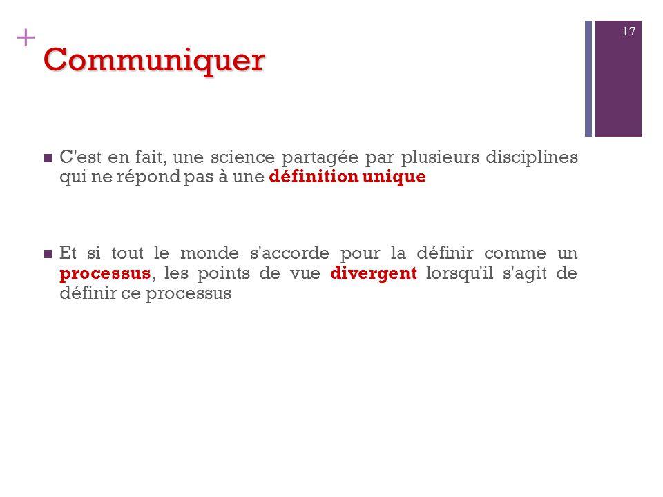 CommuniquerC est en fait, une science partagée par plusieurs disciplines qui ne répond pas à une définition unique.