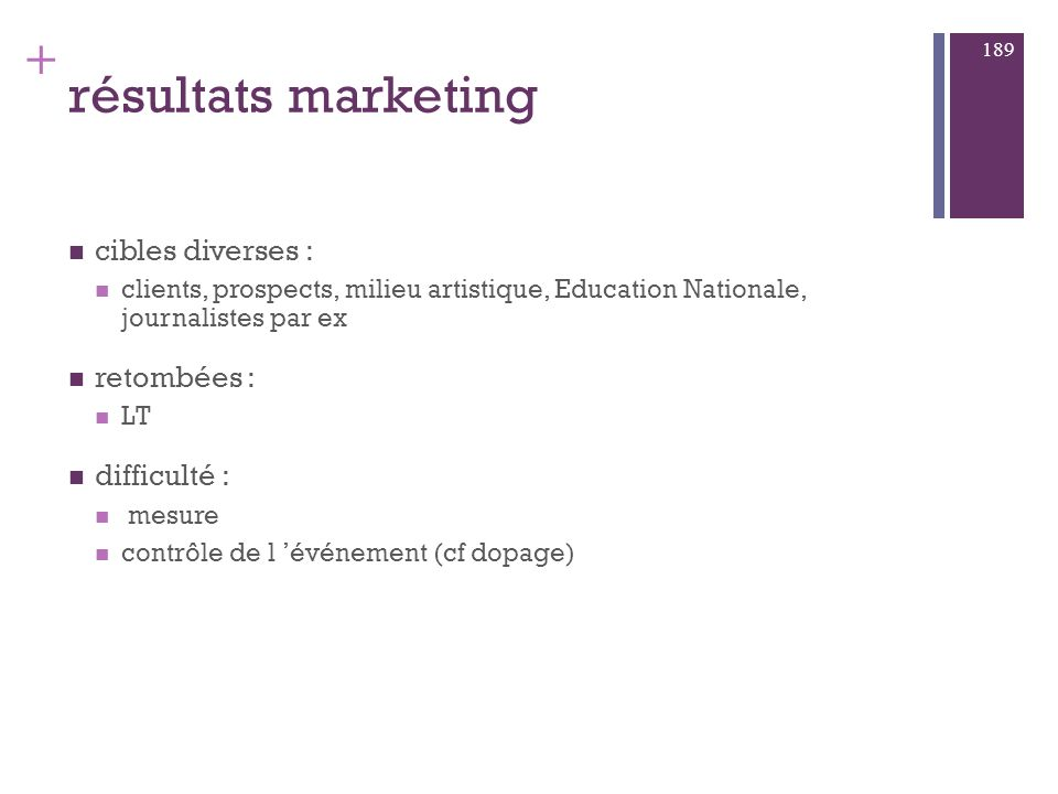résultats marketing cibles diverses : retombées : difficulté :