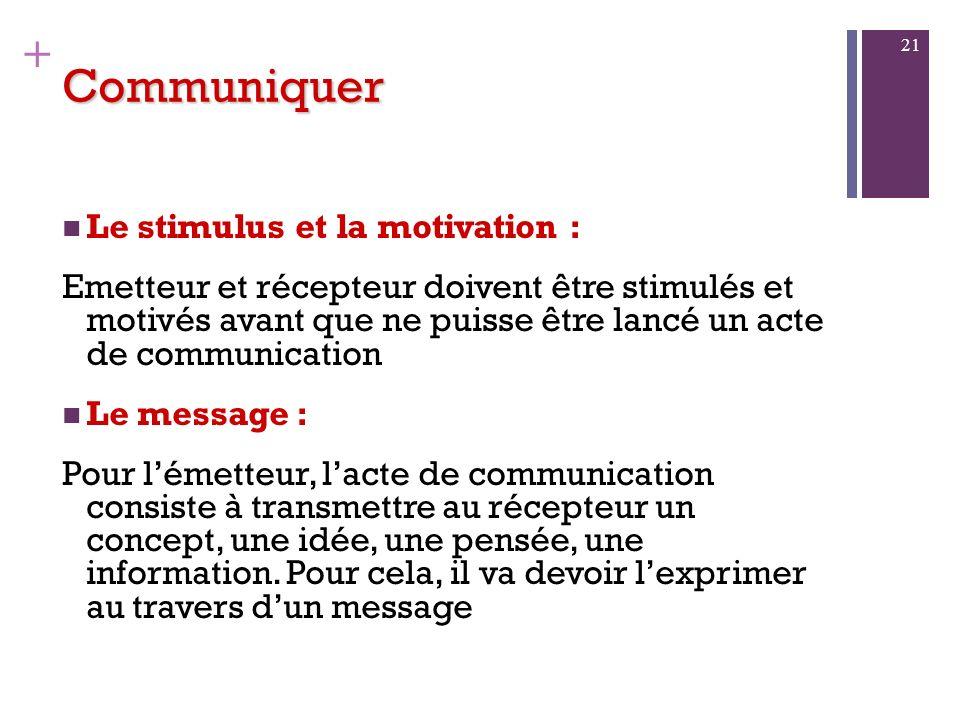 Communiquer Le stimulus et la motivation :