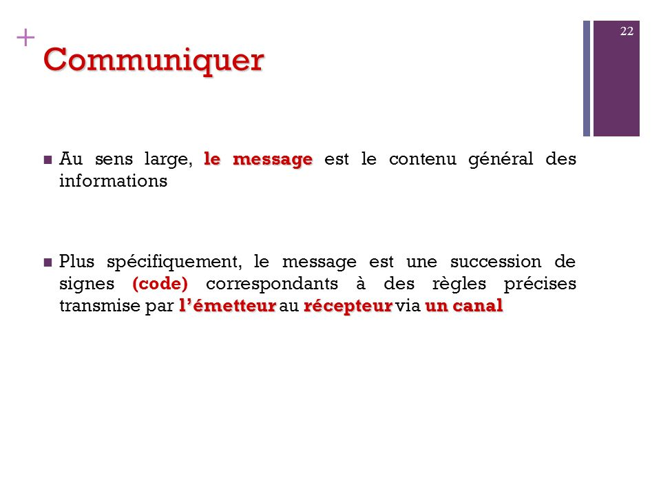 CommuniquerAu sens large, le message est le contenu général des informations.