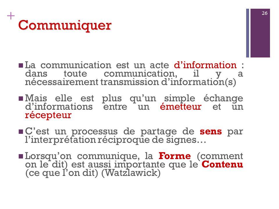 CommuniquerLa communication est un acte d'information : dans toute communication, il y a nécessairement transmission d'information(s)