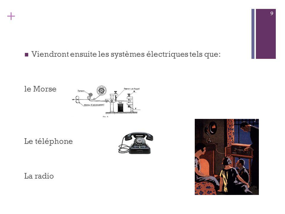 Viendront ensuite les systèmes électriques tels que: