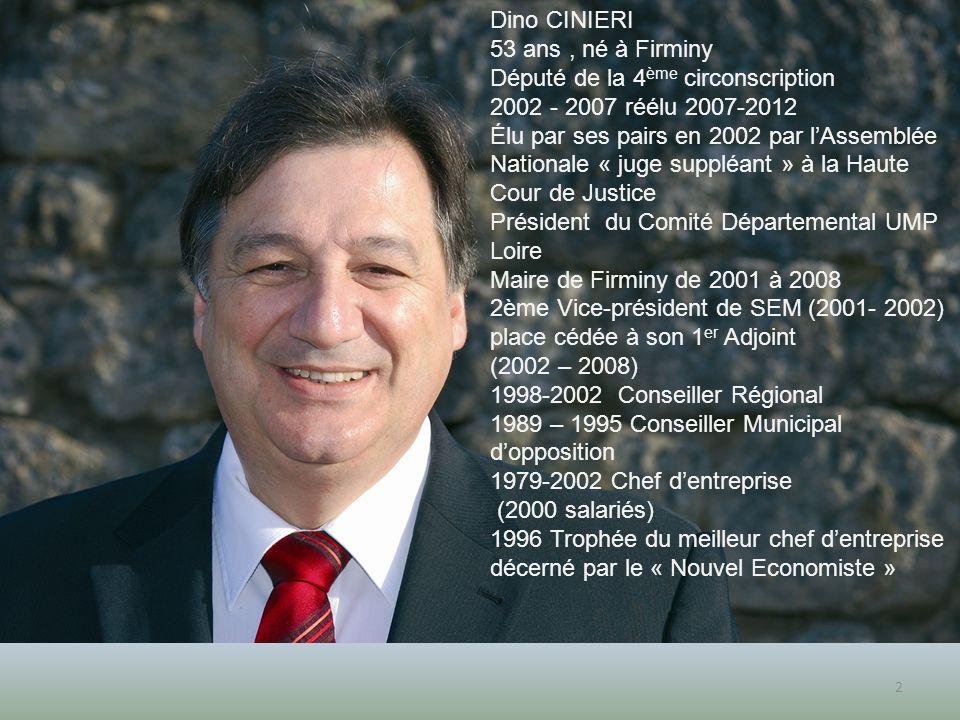 Dino CINIERI 53 ans , né à Firminy. Député de la 4ème circonscription. 2002 - 2007 réélu 2007-2012.