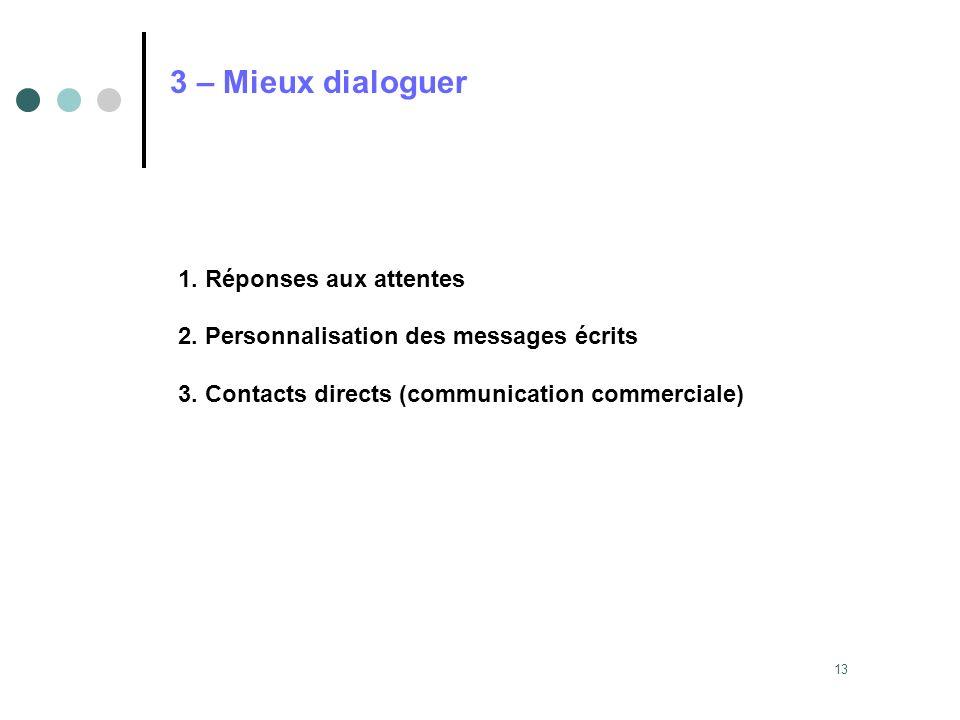 3 – Mieux dialoguer 1. Réponses aux attentes