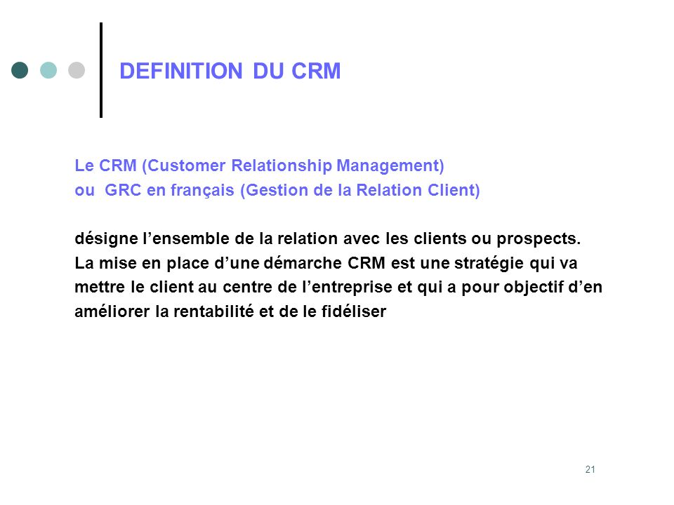 DEFINITION DU CRM Le CRM (Customer Relationship Management)