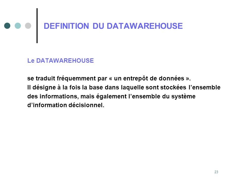 DEFINITION DU DATAWAREHOUSE