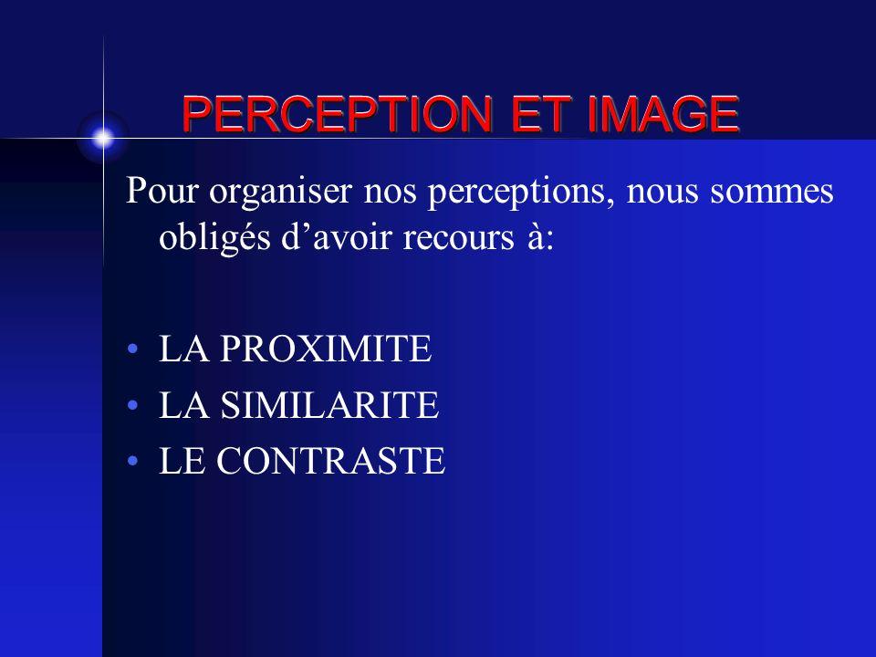 PERCEPTION ET IMAGE Pour organiser nos perceptions, nous sommes obligés d'avoir recours à: LA PROXIMITE.