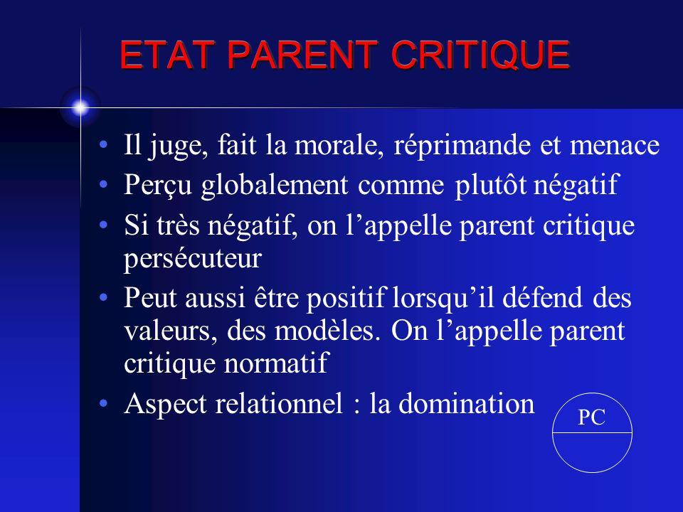 ETAT PARENT CRITIQUE Il juge, fait la morale, réprimande et menace