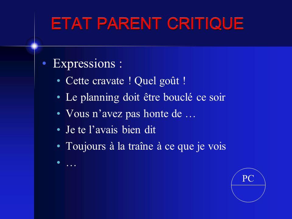 ETAT PARENT CRITIQUE Expressions : Cette cravate ! Quel goût !