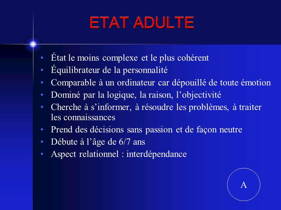 ETAT ADULTE État le moins complexe et le plus cohérent