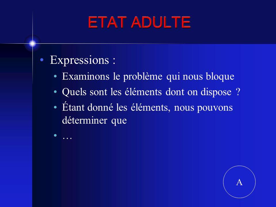 ETAT ADULTE Expressions : Examinons le problème qui nous bloque