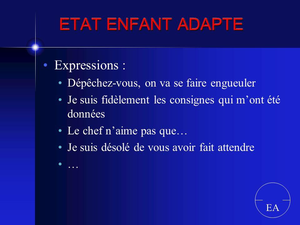 ETAT ENFANT ADAPTE Expressions :