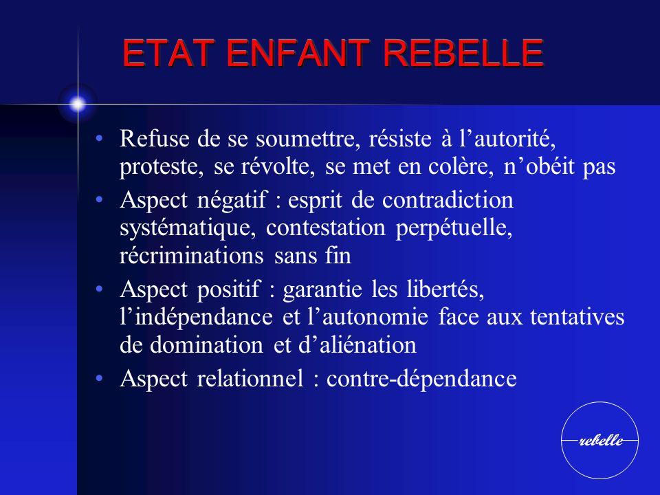 ETAT ENFANT REBELLE Refuse de se soumettre, résiste à l'autorité, proteste, se révolte, se met en colère, n'obéit pas.