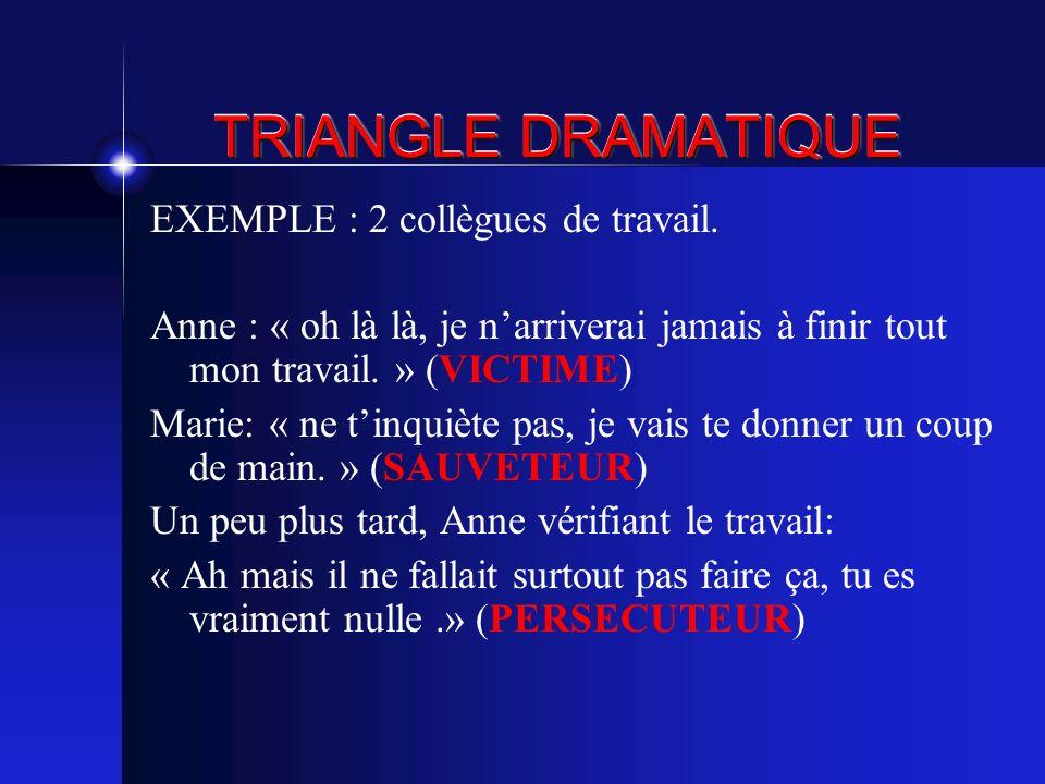 TRIANGLE DRAMATIQUE EXEMPLE : 2 collègues de travail.