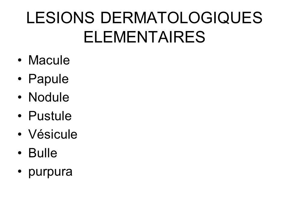 LESIONS DERMATOLOGIQUES ELEMENTAIRES