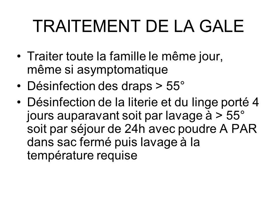 TRAITEMENT DE LA GALETraiter toute la famille le même jour, même si asymptomatique. Désinfection des draps > 55°
