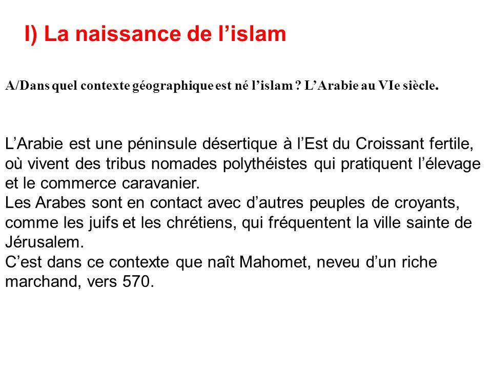 I) La naissance de l'islam