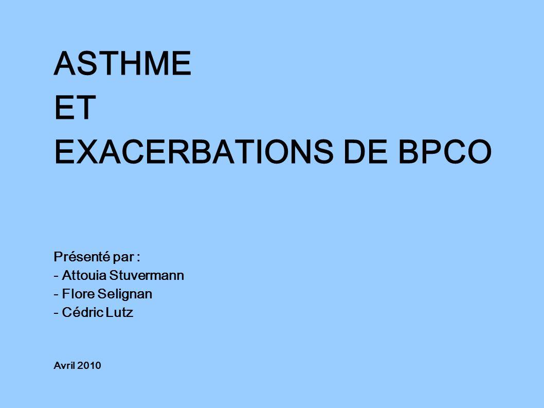 ASTHME ET EXACERBATIONS DE BPCO Présenté par : - Attouia Stuvermann