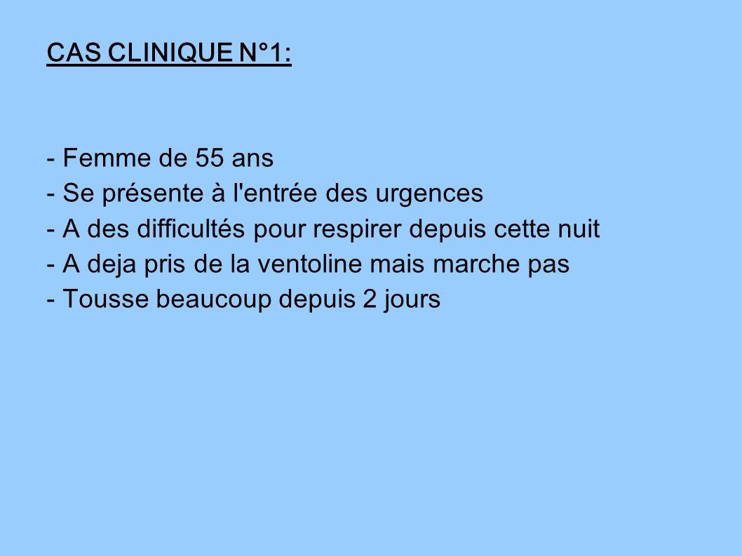 CAS CLINIQUE N°1: - Femme de 55 ans. - Se présente à l entrée des urgences. - A des difficultés pour respirer depuis cette nuit.