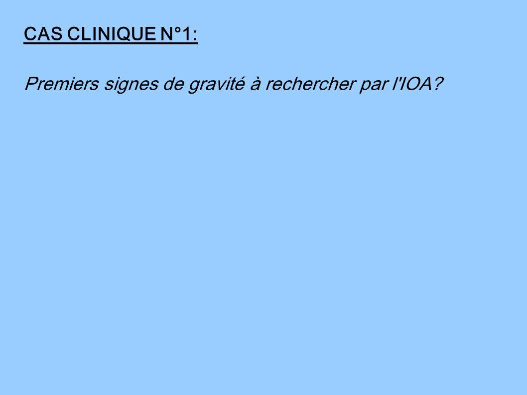 CAS CLINIQUE N°1: Premiers signes de gravité à rechercher par l IOA
