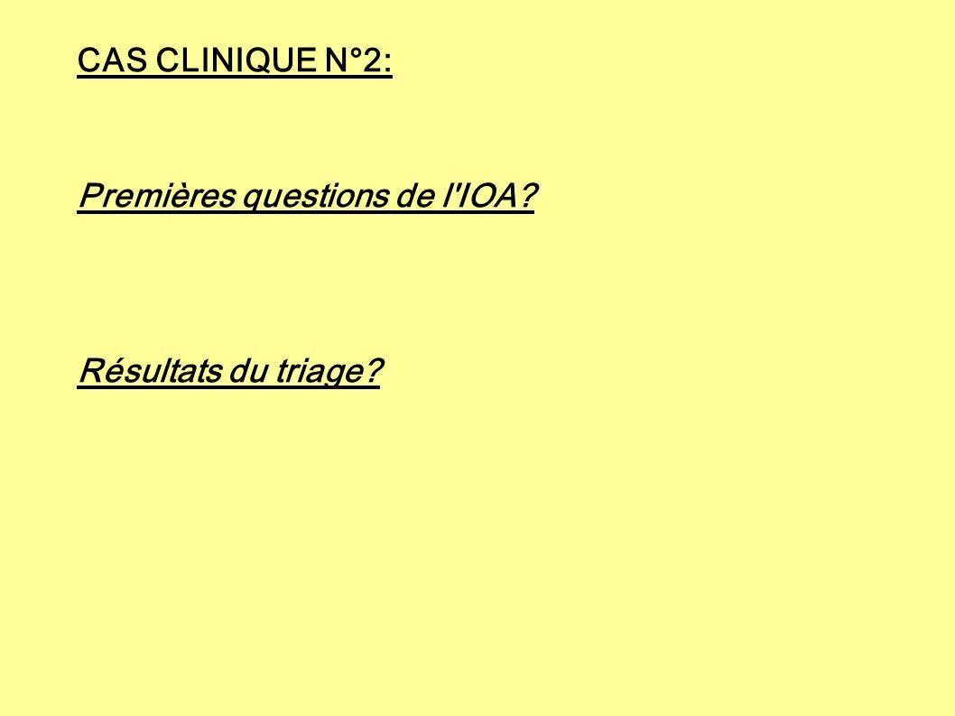 CAS CLINIQUE N°2: Premières questions de l IOA Résultats du triage