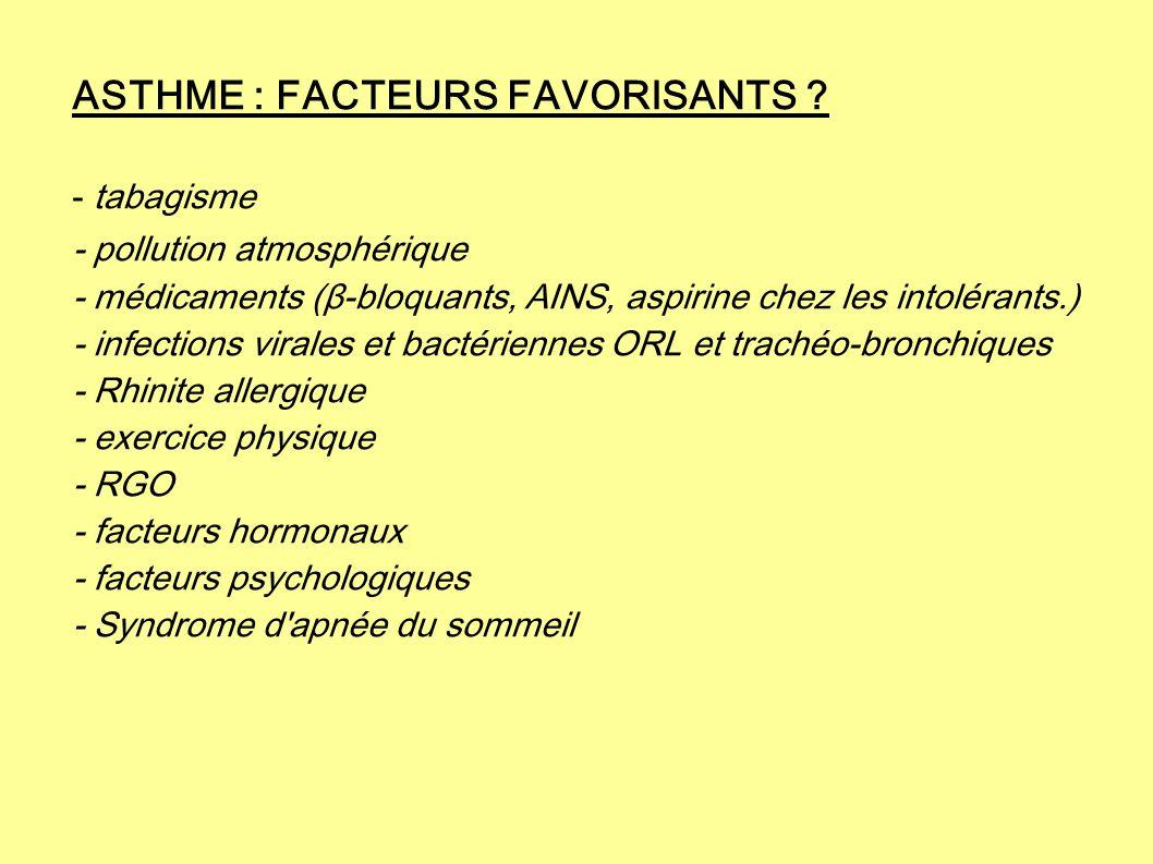 ASTHME : FACTEURS FAVORISANTS