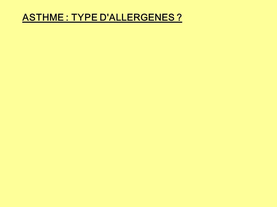 ASTHME : TYPE D ALLERGENES