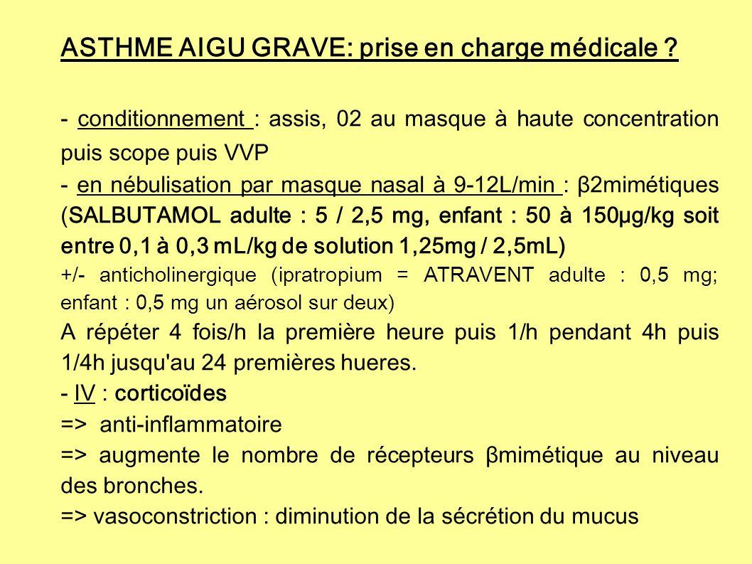 ASTHME AIGU GRAVE: prise en charge médicale