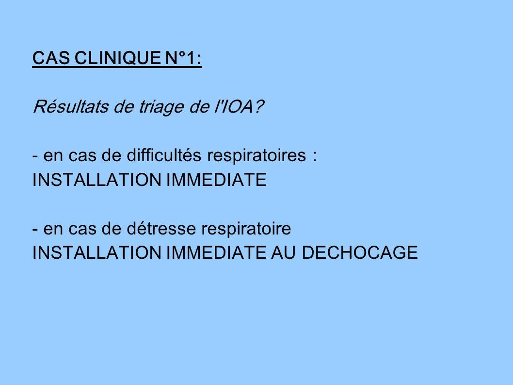 CAS CLINIQUE N°1: Résultats de triage de l IOA - en cas de difficultés respiratoires : INSTALLATION IMMEDIATE.