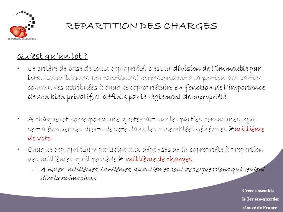 REPARTITION DES CHARGES
