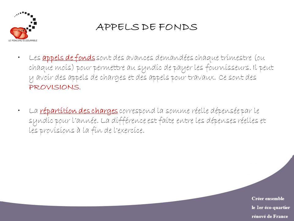 APPELS DE FONDS