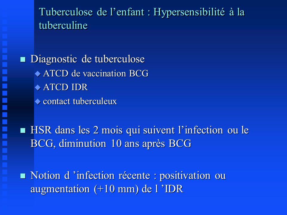 Tuberculose de l'enfant : Hypersensibilité à la tuberculine