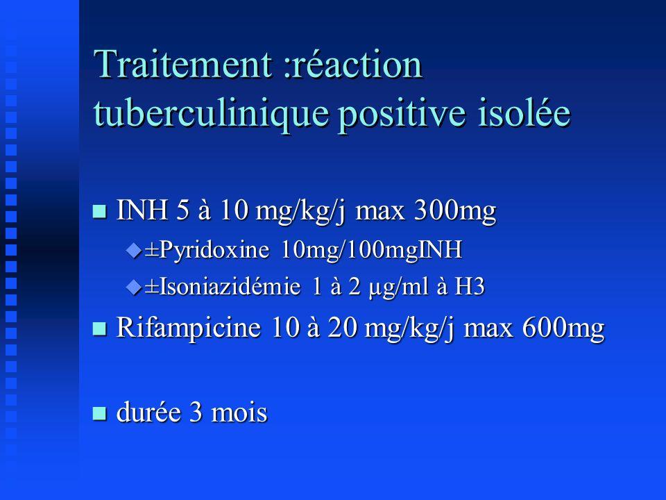 Traitement :réaction tuberculinique positive isolée