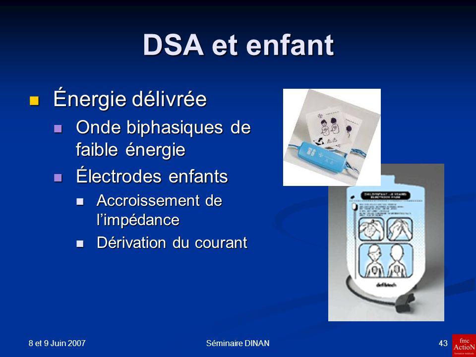 DSA et enfant Énergie délivrée Onde biphasiques de faible énergie