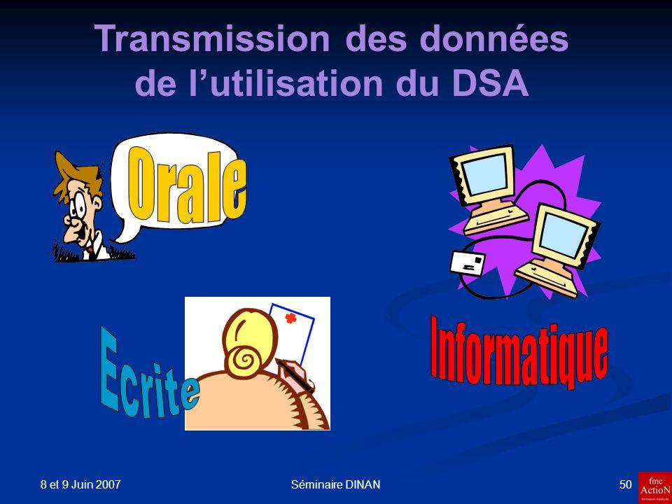 Transmission des données de l'utilisation du DSA