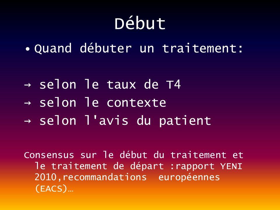 Début Quand débuter un traitement: → selon le taux de T4