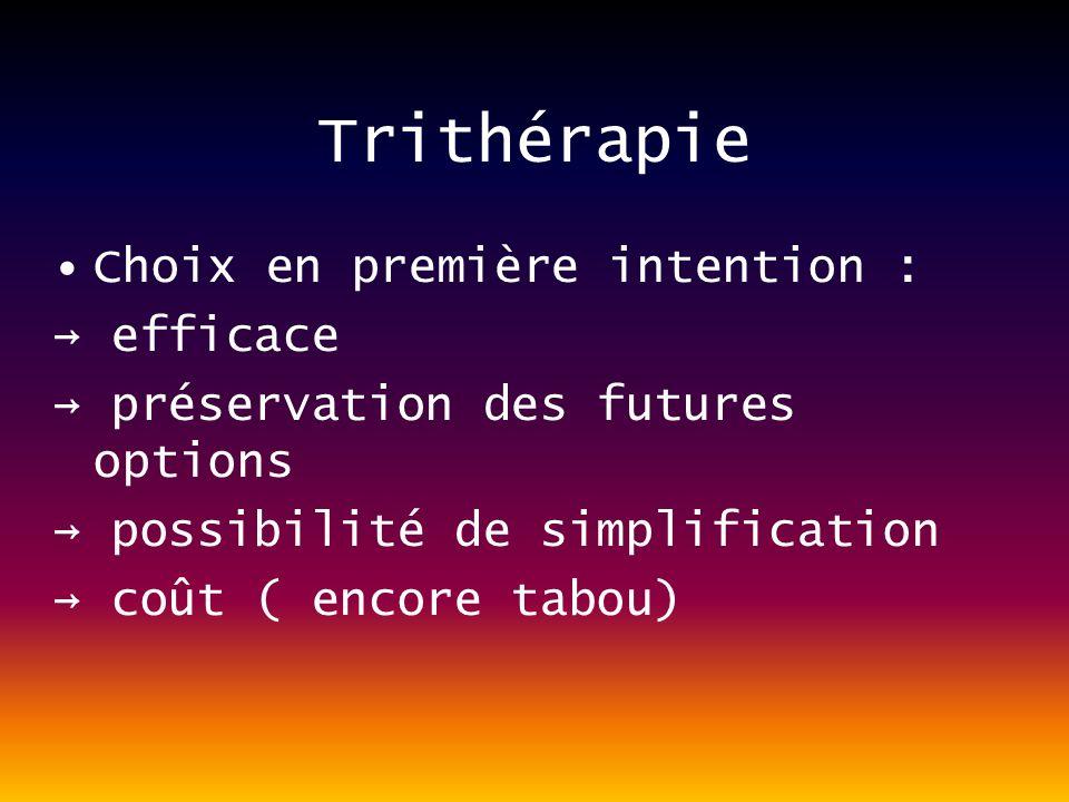 Trithérapie Choix en première intention : → efficace