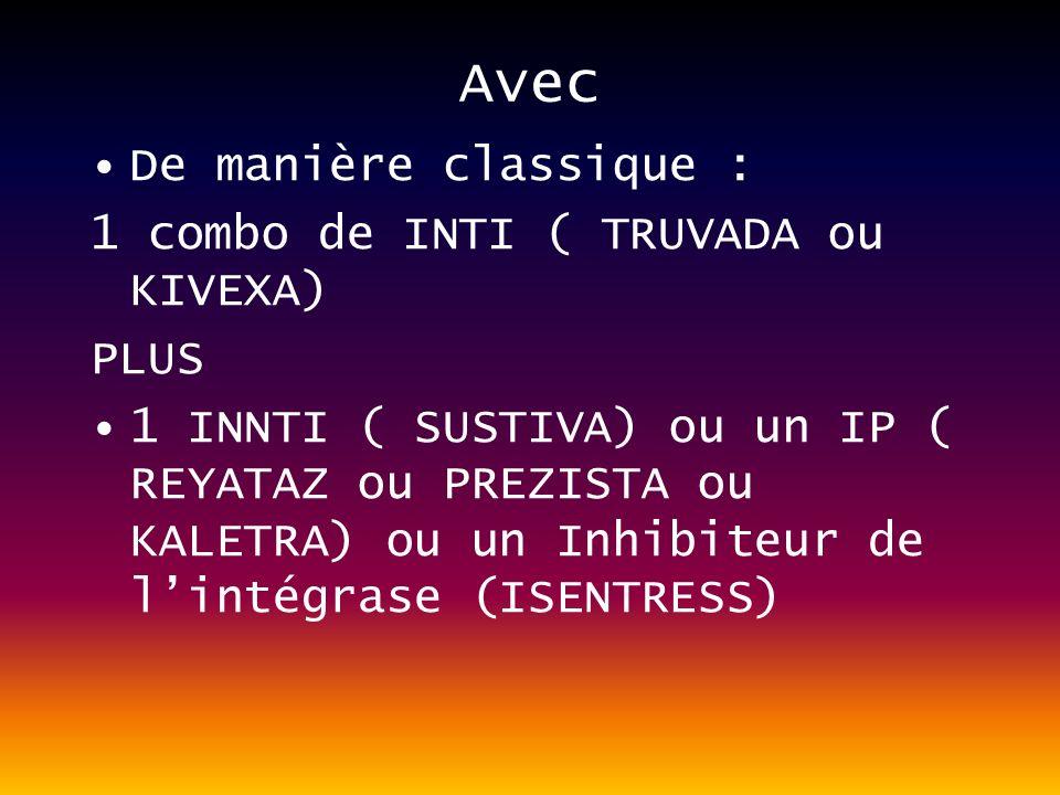 Avec De manière classique : 1 combo de INTI ( TRUVADA ou KIVEXA) PLUS