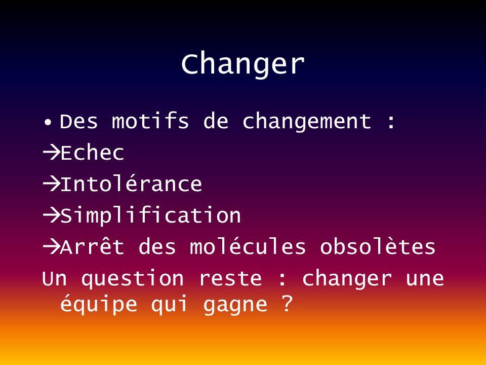 Changer Des motifs de changement : Echec Intolérance Simplification