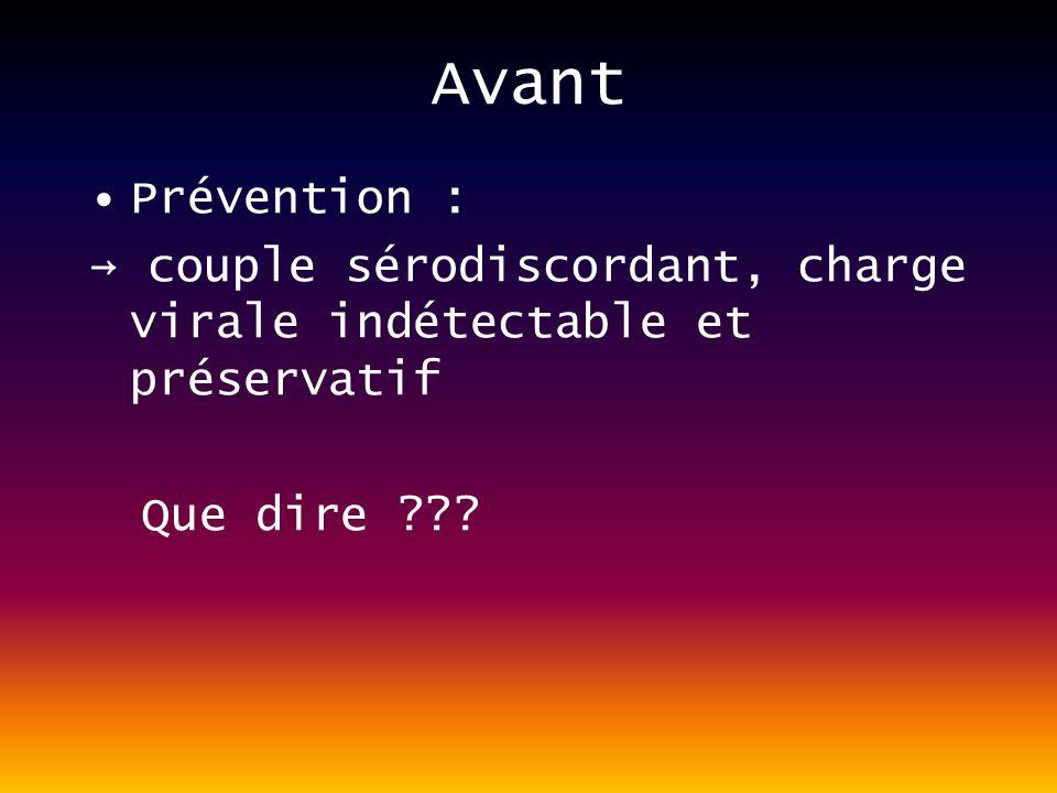 Avant Prévention : → couple sérodiscordant, charge virale indétectable et préservatif.