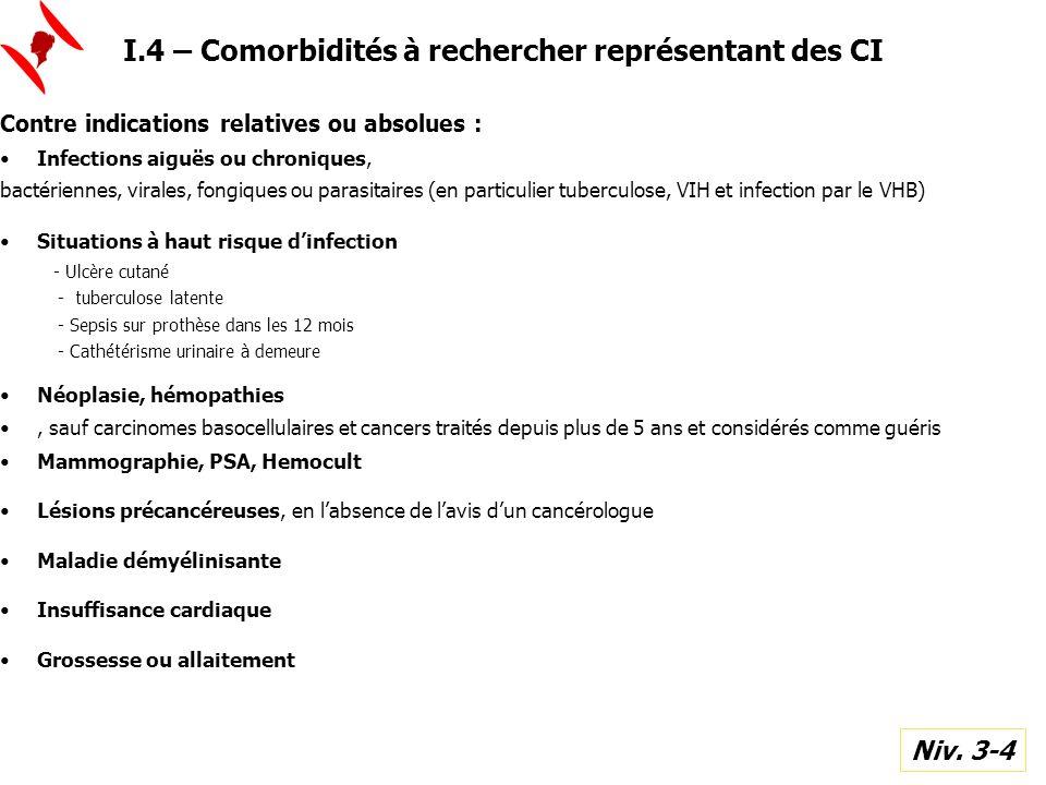 I.4 – Comorbidités à rechercher représentant des CI