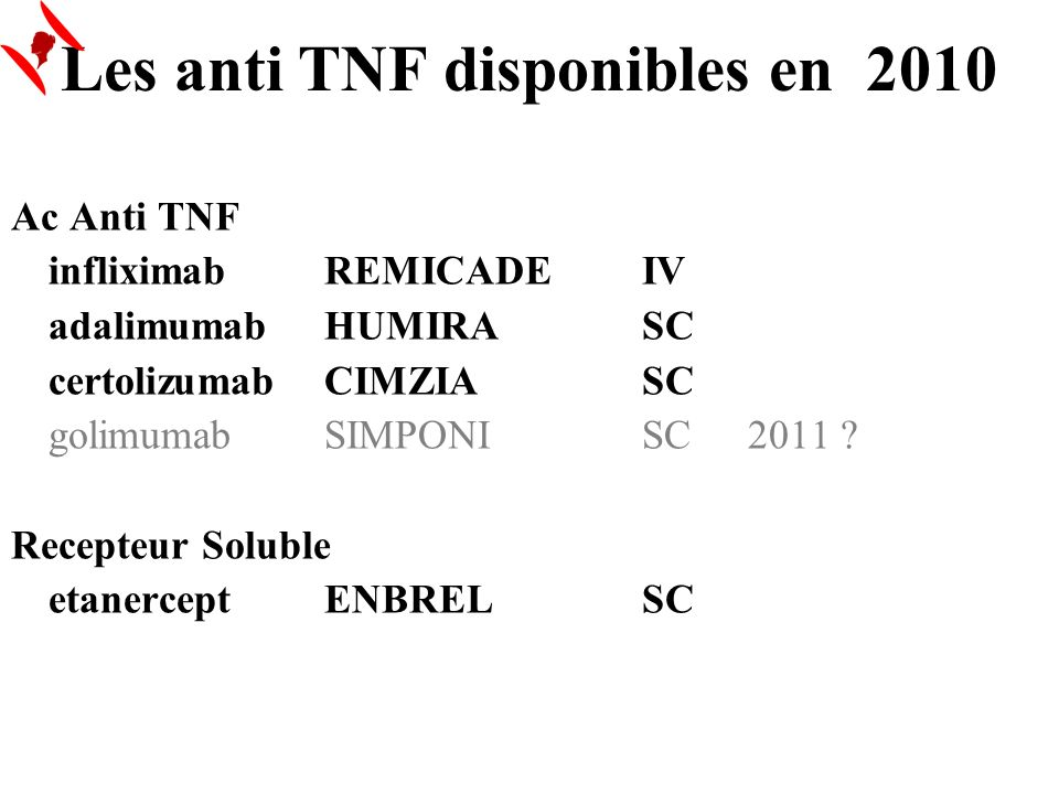 Les anti TNF disponibles en 2010