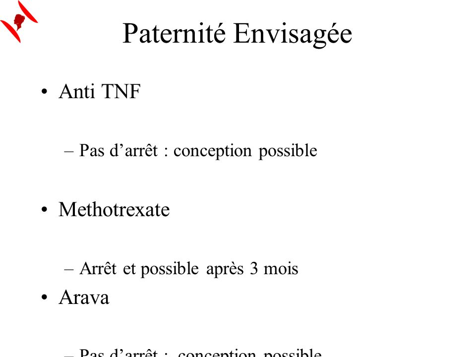 Paternité Envisagée Anti TNF Methotrexate Arava Salazopyrine