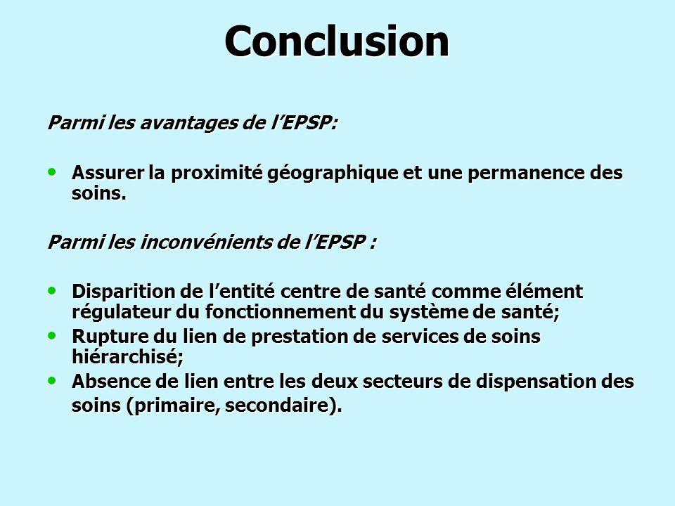 Conclusion Parmi les avantages de l'EPSP: