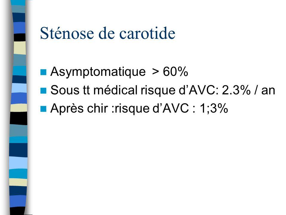 Sténose de carotide Asymptomatique > 60%