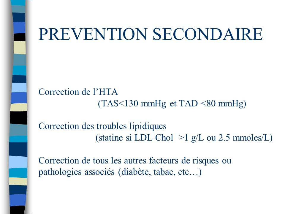 PREVENTION SECONDAIRE Correction de l'HTA