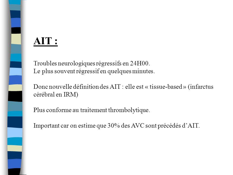AIT : Troubles neurologiques régressifs en 24H00.