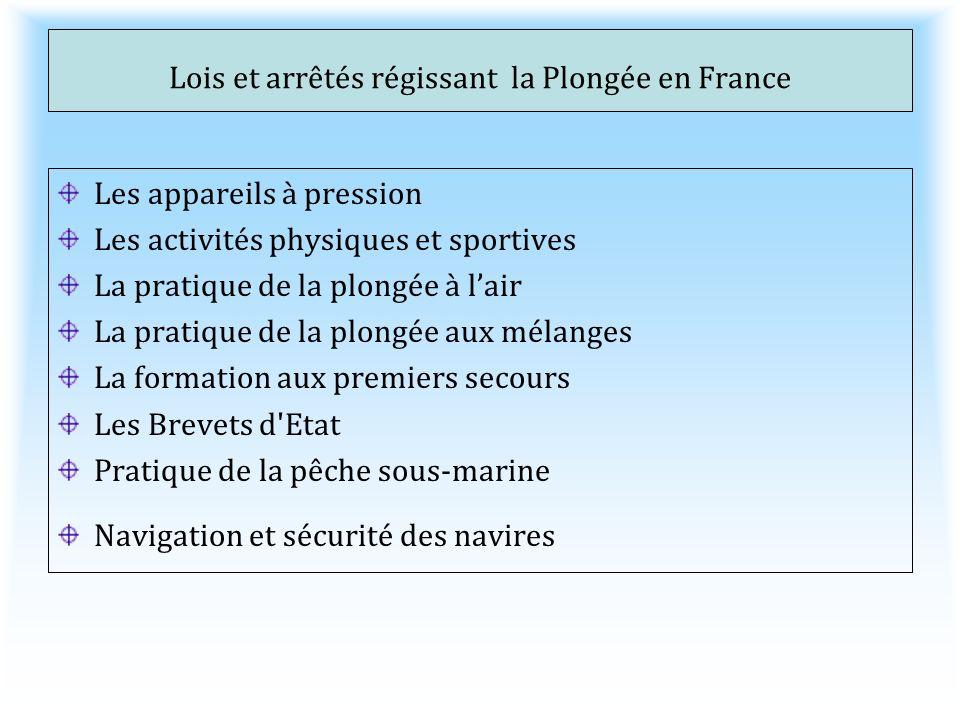 Lois et arrêtés régissant la Plongée en France