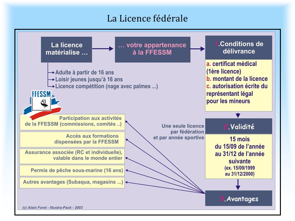 La Licence fédérale Validité de 15 mois, du 15 septembre de l'année au 31 décembre de l'année suivante. Du 15/09/2006 au 31/12/2007.