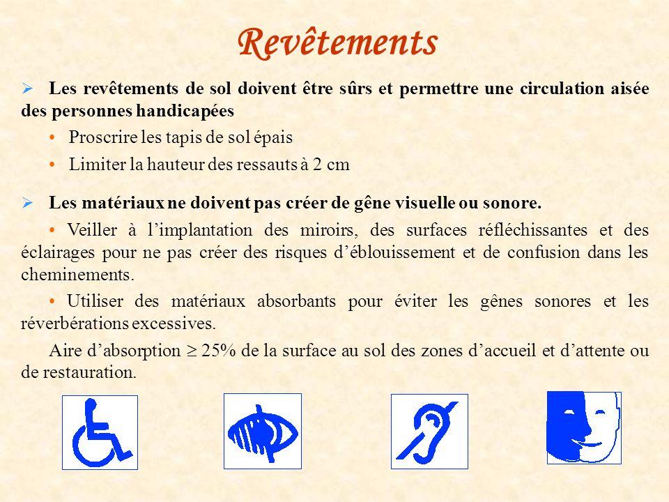 Revêtements Les revêtements de sol doivent être sûrs et permettre une circulation aisée des personnes handicapées.